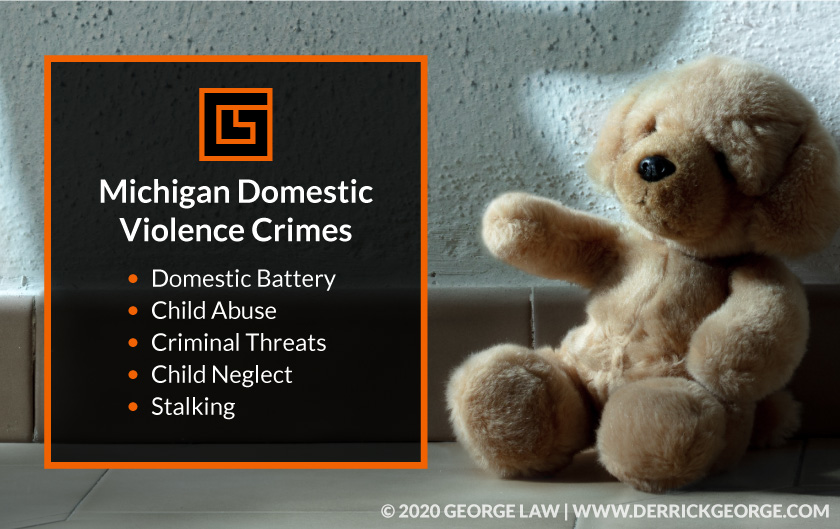 Teddy bear with text- Michigan Domestic Violence Crimes