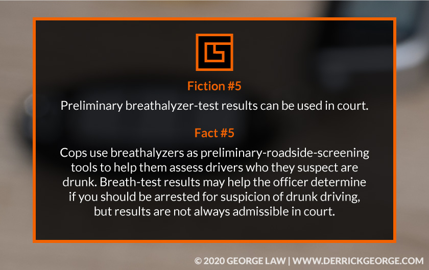 Text- Fiction #5- Preliminary  breathalyzer-test results can be used in court...